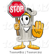 Illustration of a Cartoon Pillar Mascot Holding a Stop Sign by Toons4Biz