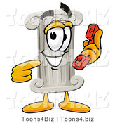 Illustration of a Cartoon Pillar Mascot Holding a Telephone by Toons4Biz
