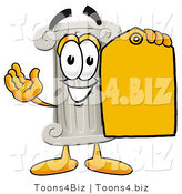 Illustration of a Cartoon Pillar Mascot Holding a Yellow Sales Price Tag by Toons4Biz