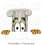 Illustration of a Cartoon Pillar Mascot Peeking over a Surface by Toons4Biz