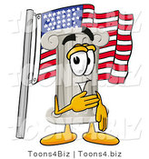 Illustration of a Cartoon Pillar Mascot Pledging Allegiance to an American Flag by Toons4Biz