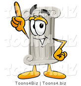 Illustration of a Cartoon Pillar Mascot Pointing Upwards by Toons4Biz