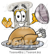 Illustration of a Cartoon Pillar Mascot Serving a Thanksgiving Turkey on a Platter by Toons4Biz