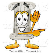 Illustration of a Cartoon Pillar Mascot Waving and Pointing by Toons4Biz
