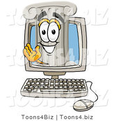 Illustration of a Cartoon Pillar Mascot Waving from Inside a Computer Screen by Toons4Biz