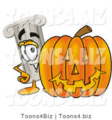 Illustration of a Cartoon Pillar Mascot with a Carved Halloween Pumpkin by Toons4Biz