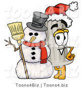 Illustration of a Cartoon Pillar Mascot with a Snowman on Christmas by Toons4Biz