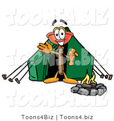 Illustration of a Cartoon Plunger Mascot Camping with a Tent and Fire by Toons4Biz