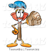 Illustration of a Cartoon Plunger Mascot Catching a Baseball with a Glove by Toons4Biz