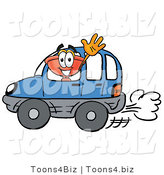 Illustration of a Cartoon Plunger Mascot Driving a Blue Car and Waving by Toons4Biz