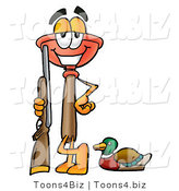 Illustration of a Cartoon Plunger Mascot Duck Hunting, Standing with a Rifle and Duck by Toons4Biz