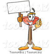 Illustration of a Cartoon Plunger Mascot Holding a Blank Sign by Toons4Biz