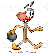 Illustration of a Cartoon Plunger Mascot Holding a Bowling Ball by Toons4Biz