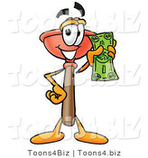 Illustration of a Cartoon Plunger Mascot Holding a Dollar Bill by Toons4Biz