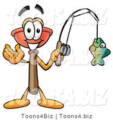 Illustration of a Cartoon Plunger Mascot Holding a Fish on a Fishing Pole by Toons4Biz