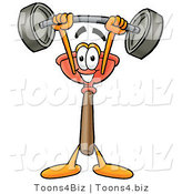 Illustration of a Cartoon Plunger Mascot Holding a Heavy Barbell Above His Head by Toons4Biz