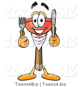 Illustration of a Cartoon Plunger Mascot Holding a Knife and Fork by Toons4Biz