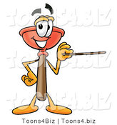 Illustration of a Cartoon Plunger Mascot Holding a Pointer Stick by Toons4Biz