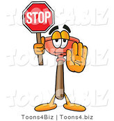 Illustration of a Cartoon Plunger Mascot Holding a Stop Sign by Toons4Biz