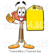 Illustration of a Cartoon Plunger Mascot Holding a Yellow Sales Price Tag by Toons4Biz