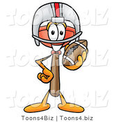 Illustration of a Cartoon Plunger Mascot in a Helmet, Holding a Football by Toons4Biz