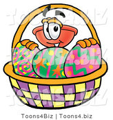 Illustration of a Cartoon Plunger Mascot in an Easter Basket Full of Decorated Easter Eggs by Toons4Biz
