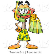 Illustration of a Cartoon Plunger Mascot in Green and Yellow Snorkel Gear by Toons4Biz