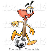 Illustration of a Cartoon Plunger Mascot Kicking a Soccer Ball by Toons4Biz