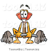 Illustration of a Cartoon Plunger Mascot Lifting a Heavy Barbell by Toons4Biz