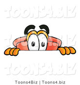 Illustration of a Cartoon Plunger Mascot Peeking over a Surface by Toons4Biz
