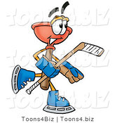 Illustration of a Cartoon Plunger Mascot Playing Ice Hockey by Toons4Biz