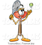 Illustration of a Cartoon Plunger Mascot Preparing to Hit a Tennis Ball by Toons4Biz