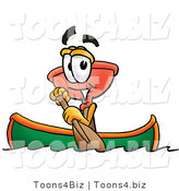 Illustration of a Cartoon Plunger Mascot Rowing a Boat by Toons4Biz