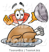 Illustration of a Cartoon Plunger Mascot Serving a Thanksgiving Turkey on a Platter by Toons4Biz