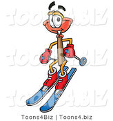 Illustration of a Cartoon Plunger Mascot Skiing Downhill by Toons4Biz