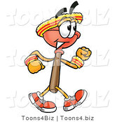 Illustration of a Cartoon Plunger Mascot Speed Walking or Jogging by Toons4Biz