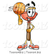 Illustration of a Cartoon Plunger Mascot Spinning a Basketball on His Finger by Toons4Biz