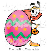 Illustration of a Cartoon Plunger Mascot Standing Beside an Easter Egg by Toons4Biz