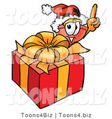Illustration of a Cartoon Plunger Mascot Standing by a Christmas Present by Toons4Biz