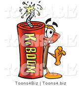 Illustration of a Cartoon Plunger Mascot Standing with a Lit Stick of Dynamite by Toons4Biz