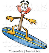 Illustration of a Cartoon Plunger Mascot Surfing on a Blue and Yellow Surfboard by Toons4Biz