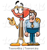 Illustration of a Cartoon Plunger Mascot Talking to a Business Man by Toons4Biz