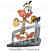 Illustration of a Cartoon Plunger Mascot Walking on a Treadmill in a Fitness Gym by Toons4Biz