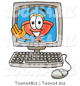 Illustration of a Cartoon Plunger Mascot Waving from Inside a Computer Screen by Toons4Biz