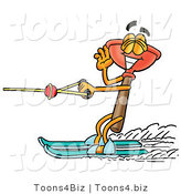 Illustration of a Cartoon Plunger Mascot Waving While Water Skiing by Toons4Biz