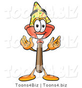 Illustration of a Cartoon Plunger Mascot Wearing a Birthday Party Hat by Toons4Biz