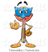Illustration of a Cartoon Plunger Mascot Wearing a Blue Mask over His Face by Toons4Biz