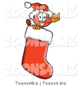 Illustration of a Cartoon Plunger Mascot Wearing a Santa Hat Inside a Red Christmas Stocking by Toons4Biz