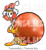 Illustration of a Cartoon Plunger Mascot Wearing a Santa Hat, Standing with a Christmas Bauble by Toons4Biz