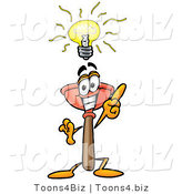 Illustration of a Cartoon Plunger Mascot with a Bright Idea by Toons4Biz